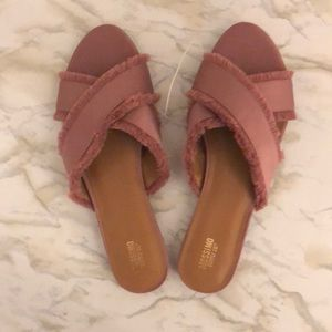 Rose Colored Flat Sandals